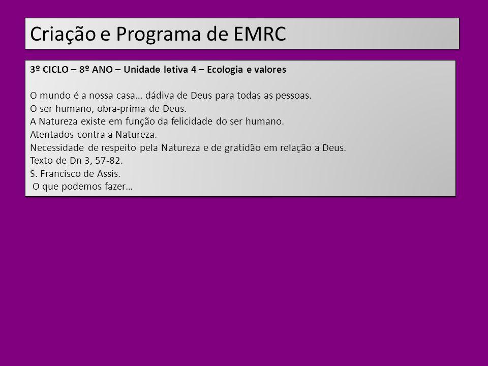 Criação e Programa de EMRC