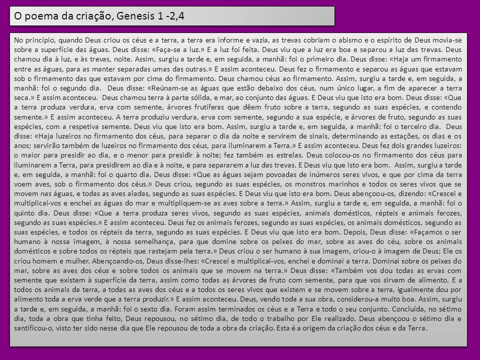 O poema da criação, Genesis 1 -2,4
