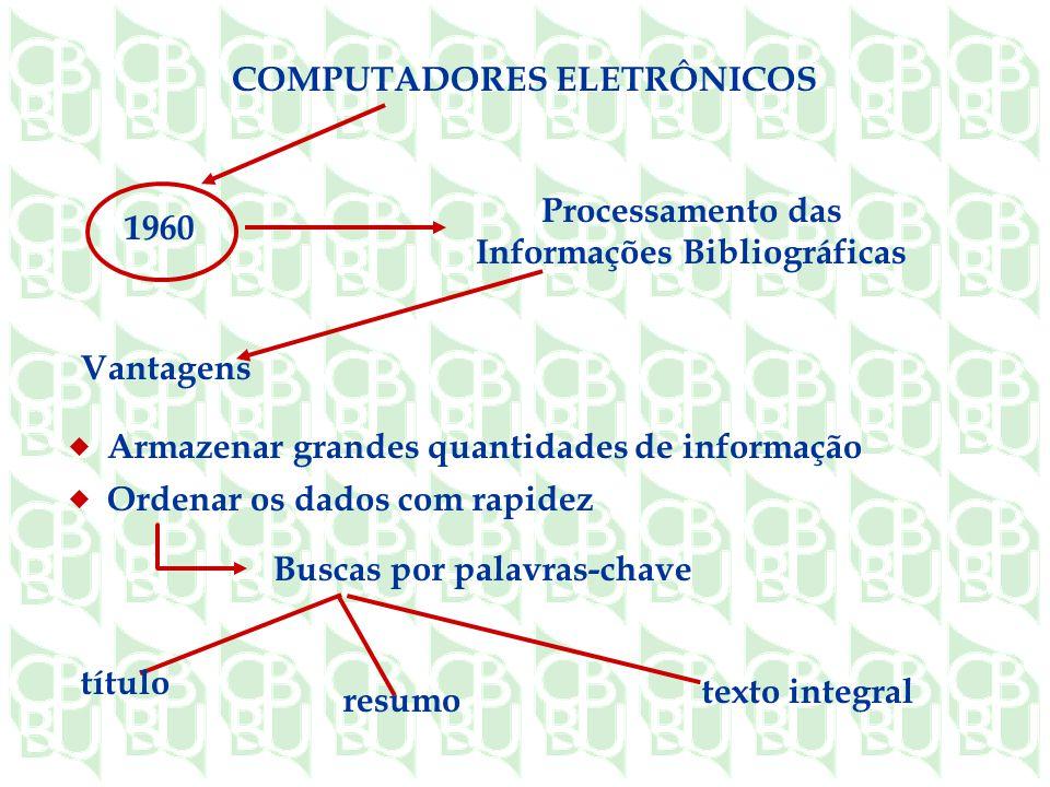 COMPUTADORES ELETRÔNICOS Processamento das Informações Bibliográficas