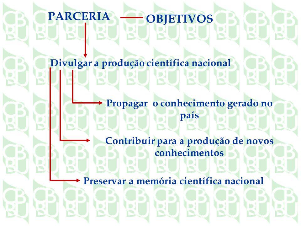 PARCERIA OBJETIVOS Divulgar a produção científica nacional