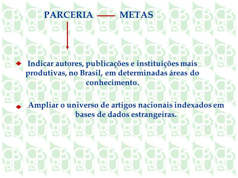 METAS PARCERIA. Indicar autores, publicações e instituições mais produtivas, no Brasil, em determinadas áreas do conhecimento.