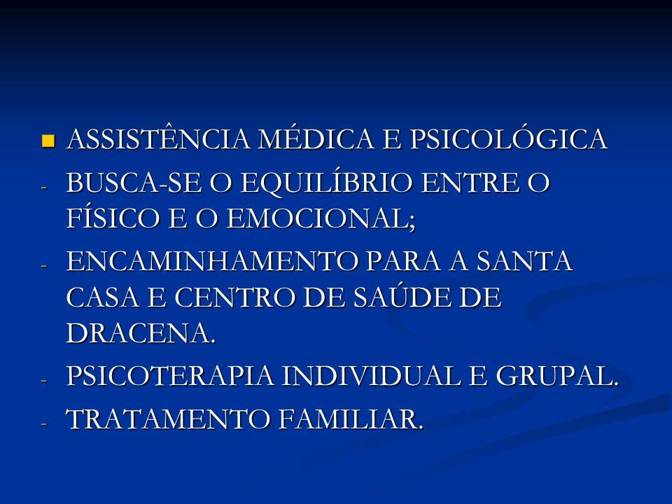 ASSISTÊNCIA MÉDICA E PSICOLÓGICA