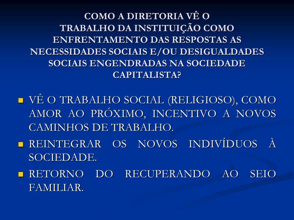 REINTEGRAR OS NOVOS INDIVÍDUOS À SOCIEDADE.