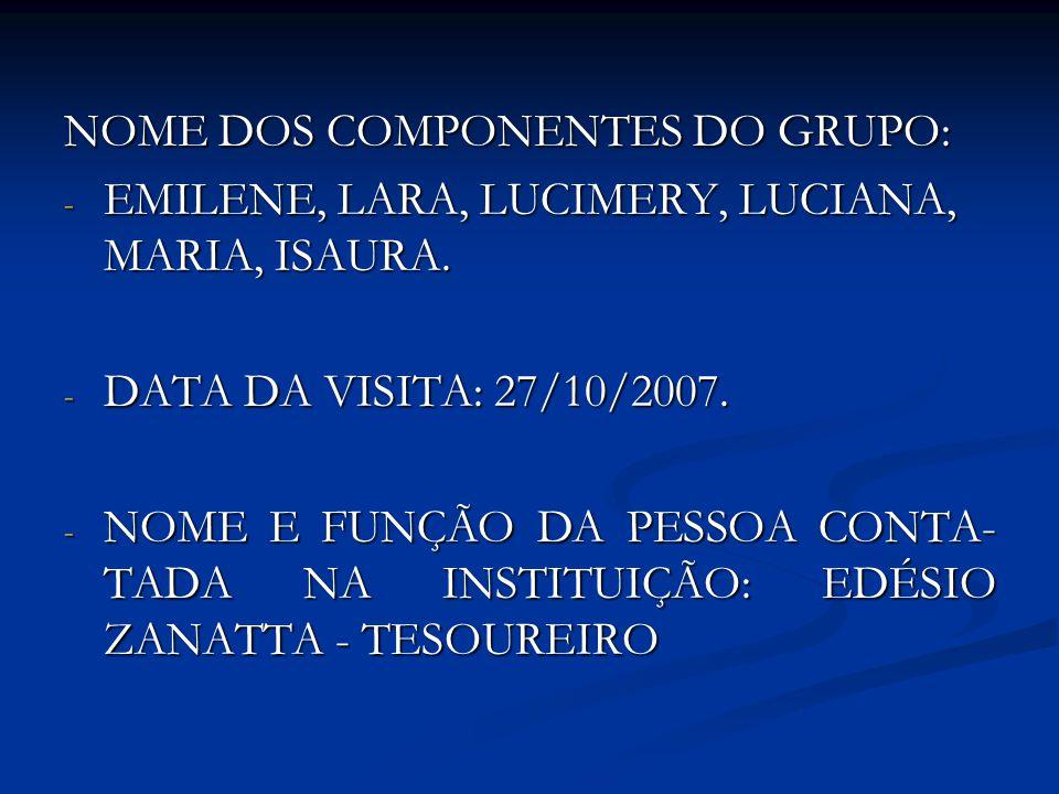 NOME DOS COMPONENTES DO GRUPO: