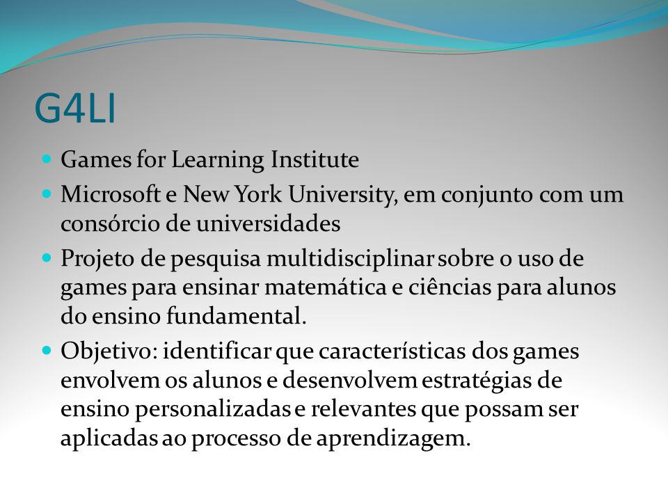G4LI Games for Learning Institute