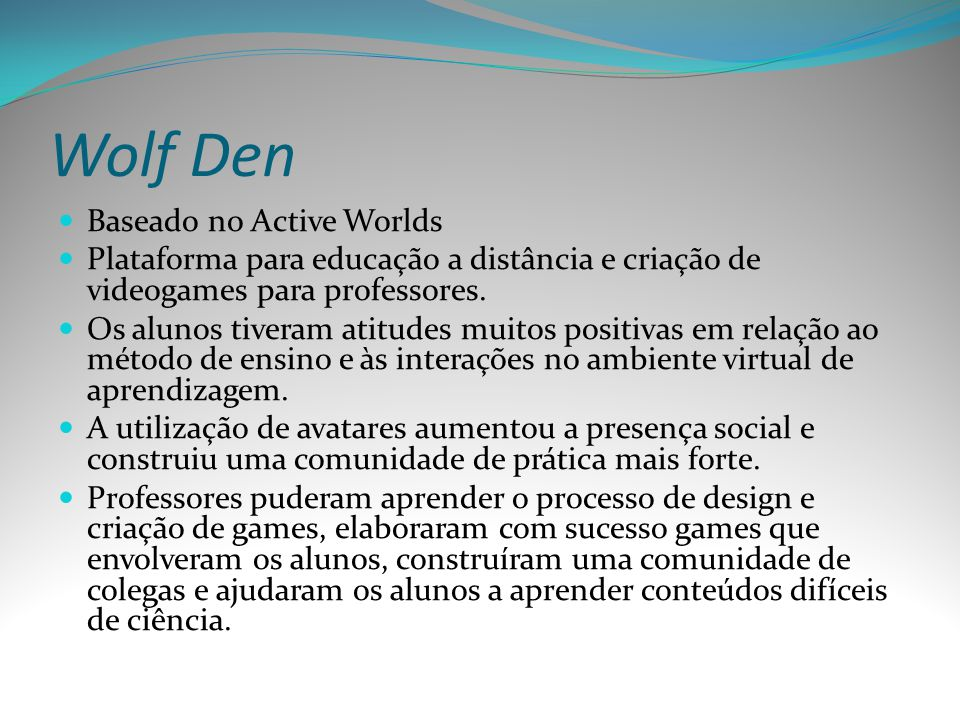 Wolf Den Baseado no Active Worlds