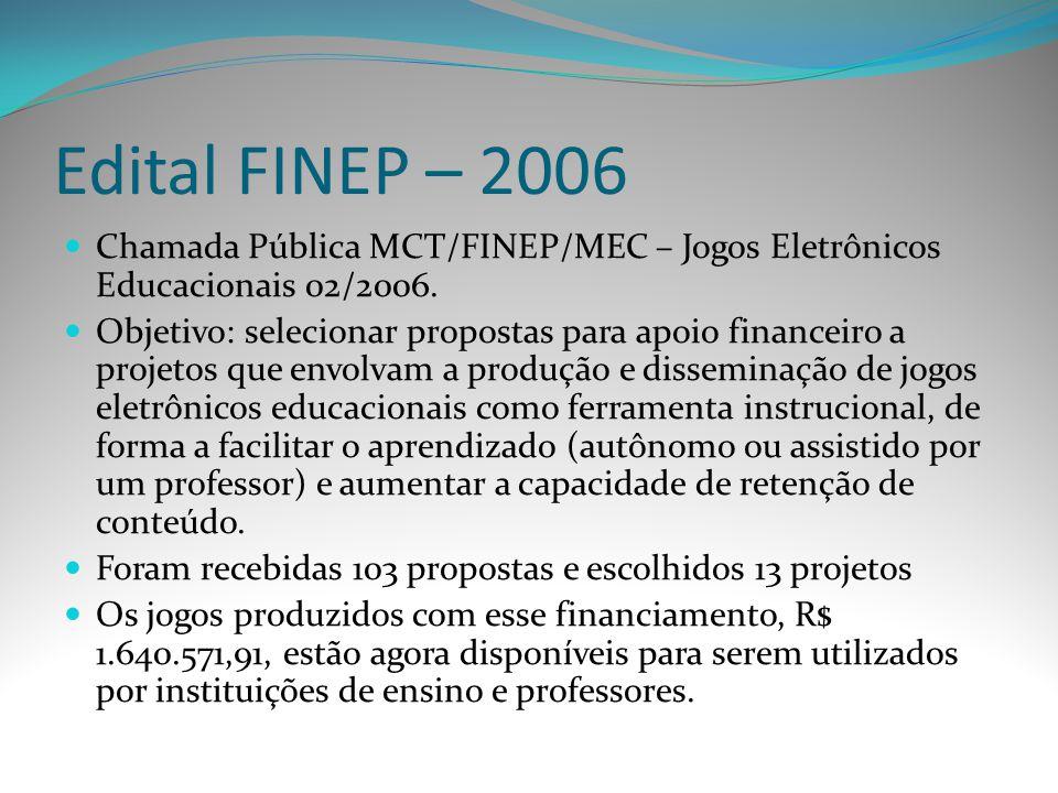 Edital FINEP – 2006 Chamada Pública MCT/FINEP/MEC – Jogos Eletrônicos Educacionais 02/2006.