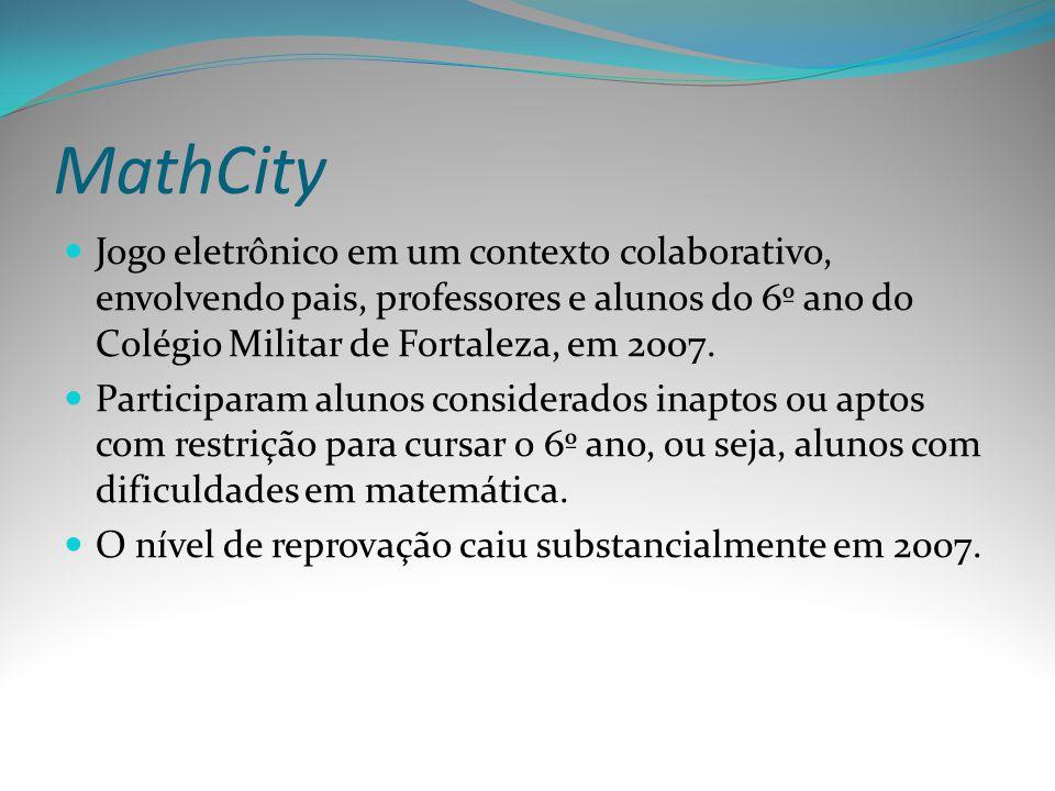 MathCity Jogo eletrônico em um contexto colaborativo, envolvendo pais, professores e alunos do 6º ano do Colégio Militar de Fortaleza, em 2007.