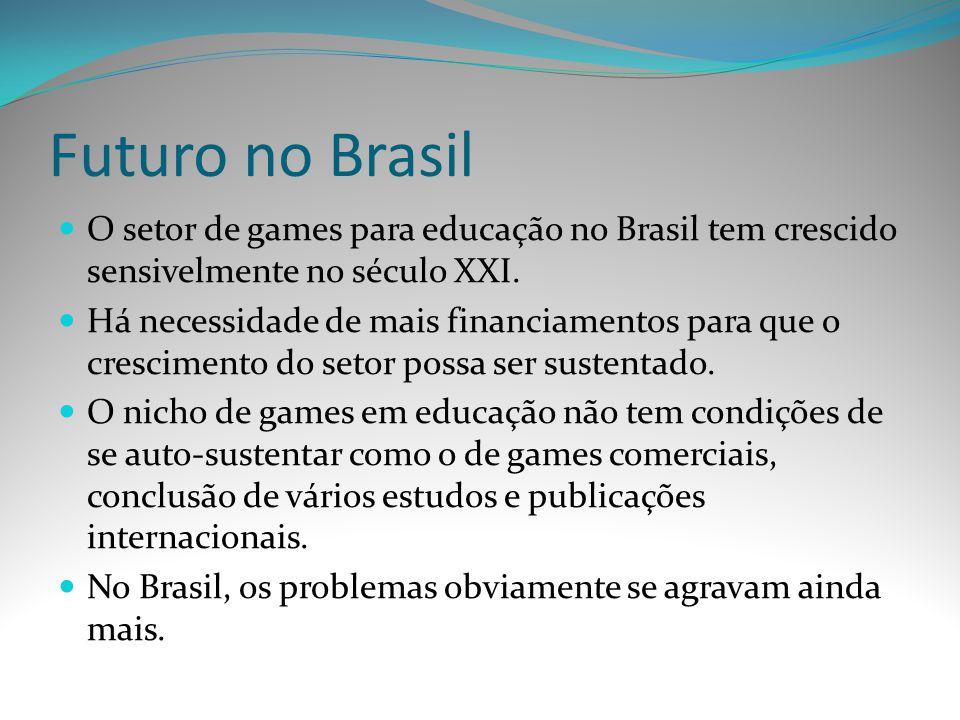 Futuro no Brasil O setor de games para educação no Brasil tem crescido sensivelmente no século XXI.