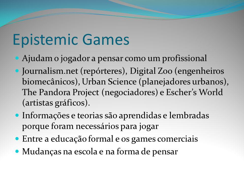 Epistemic Games Ajudam o jogador a pensar como um profissional