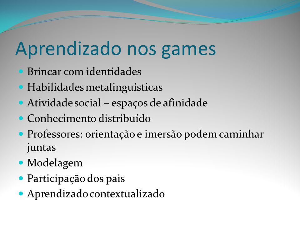 Aprendizado nos games Brincar com identidades