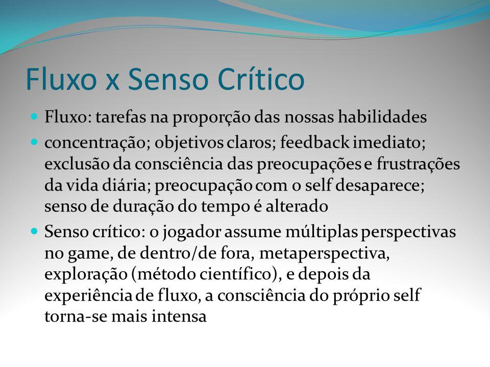 Fluxo x Senso Crítico Fluxo: tarefas na proporção das nossas habilidades.