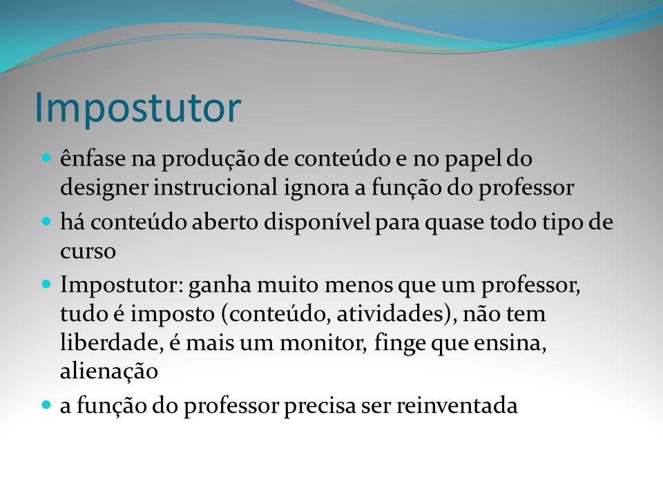 Impostutor ênfase na produção de conteúdo e no papel do designer instrucional ignora a função do professor.