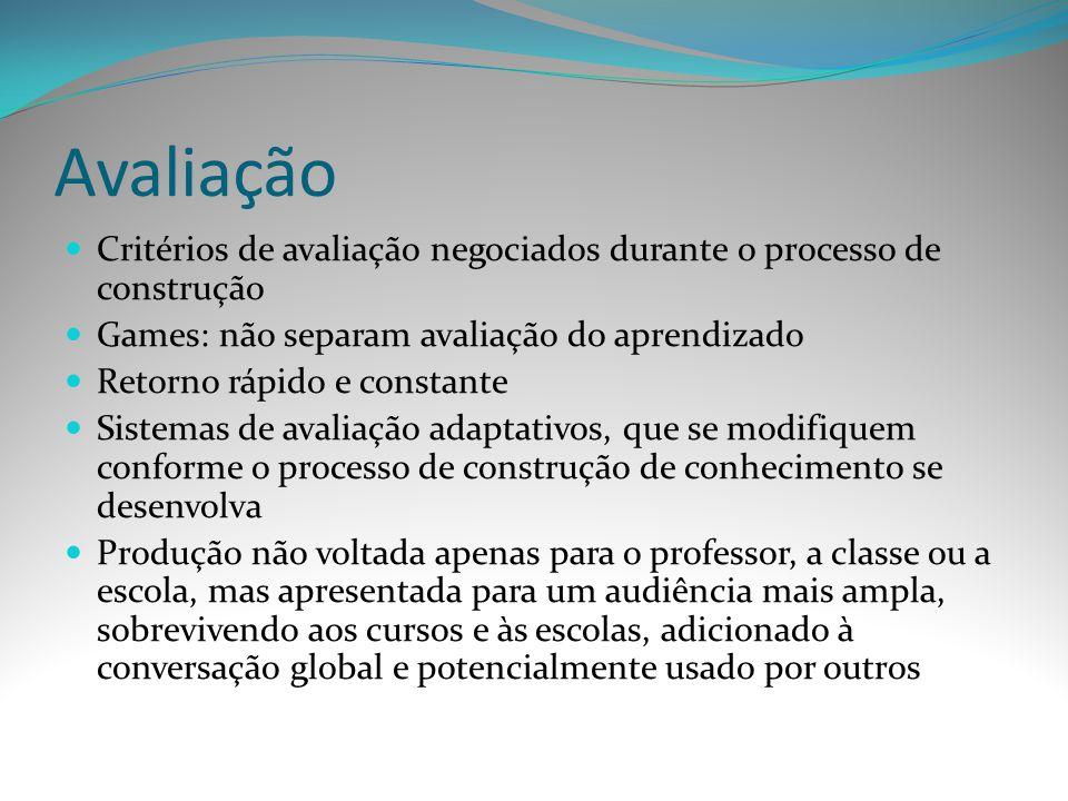 Avaliação Critérios de avaliação negociados durante o processo de construção. Games: não separam avaliação do aprendizado.