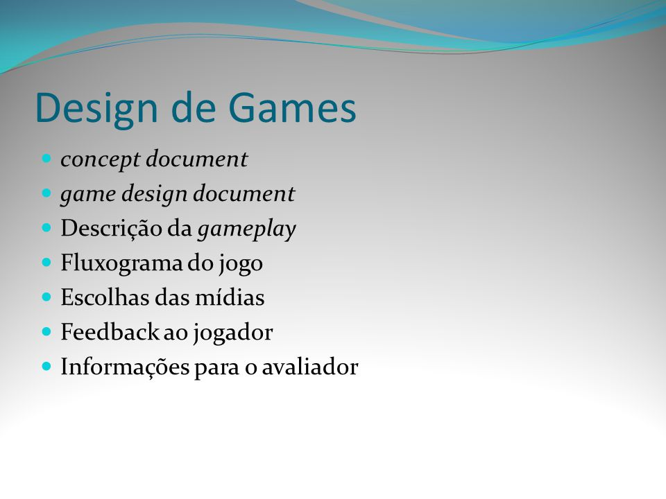 Design de Games concept document game design document