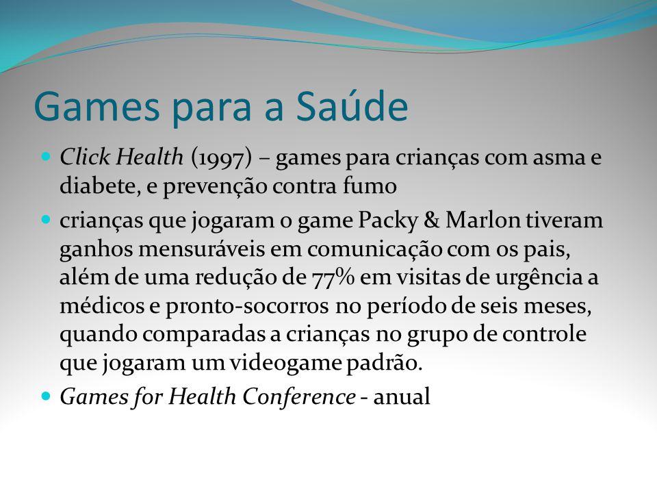 Games para a Saúde Click Health (1997) – games para crianças com asma e diabete, e prevenção contra fumo.