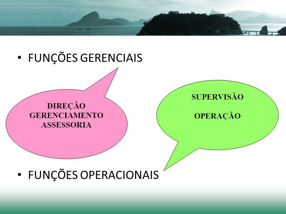FUNÇÕES GERENCIAIS FUNÇÕES OPERACIONAIS SUPERVISÃO DIREÇÃO OPERAÇÃO