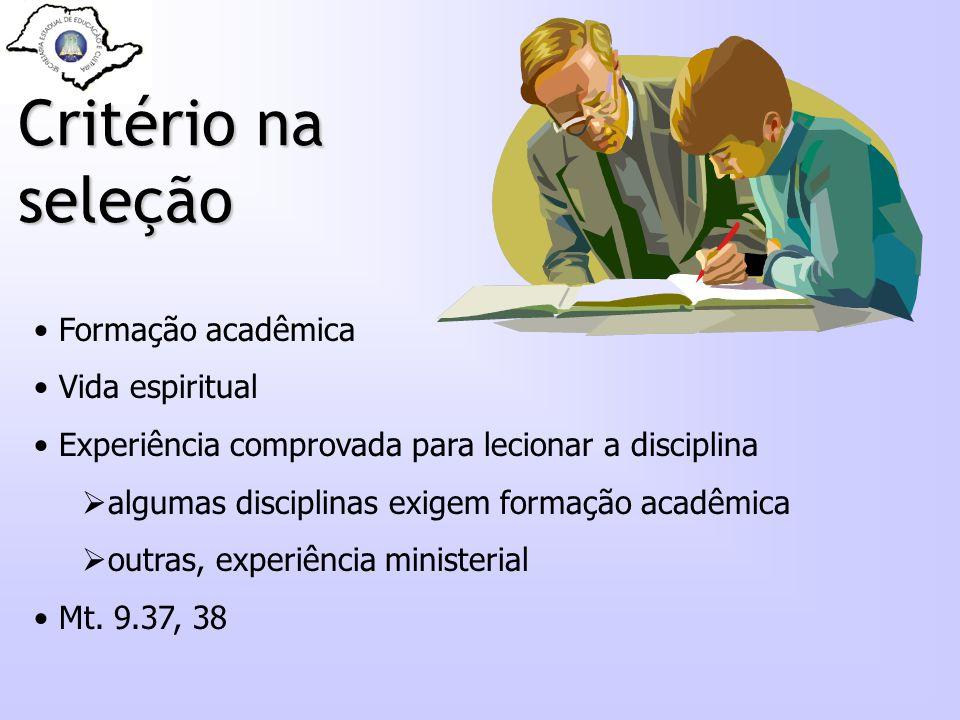 Critério na seleção Formação acadêmica Vida espiritual