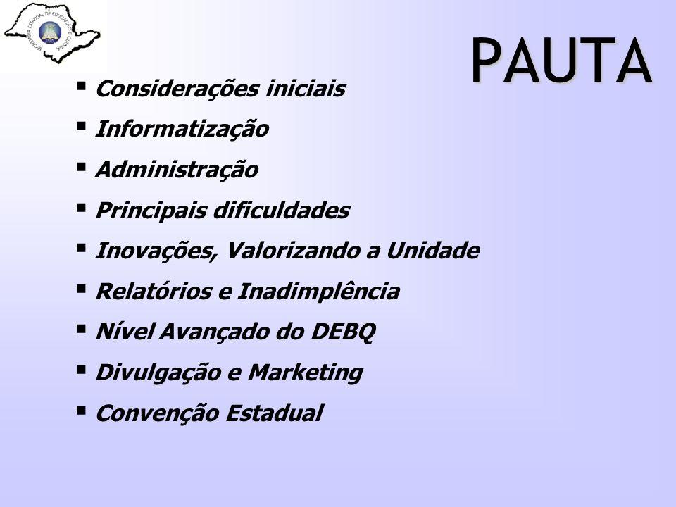 PAUTA Considerações iniciais Informatização Administração