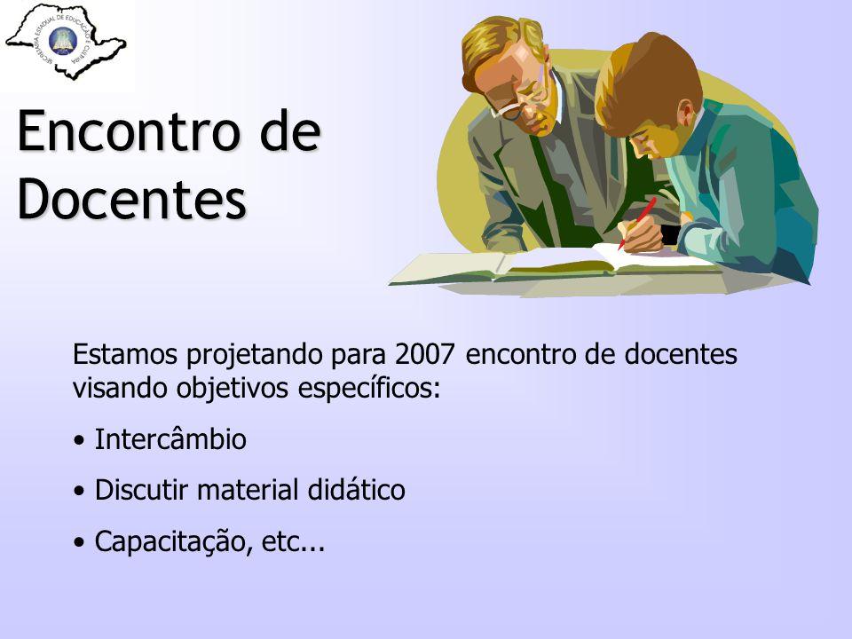 Encontro de Docentes Estamos projetando para 2007 encontro de docentes visando objetivos específicos: