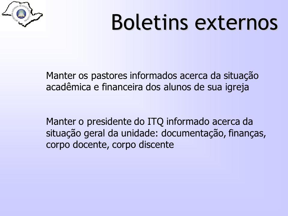 Boletins externos Manter os pastores informados acerca da situação acadêmica e financeira dos alunos de sua igreja.