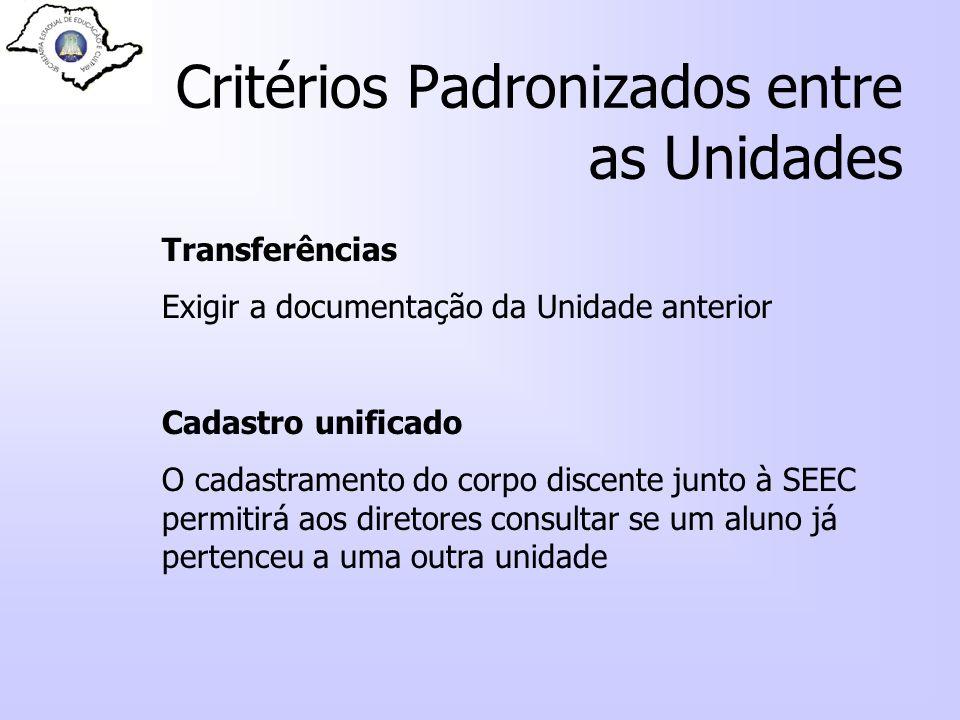 Critérios Padronizados entre as Unidades