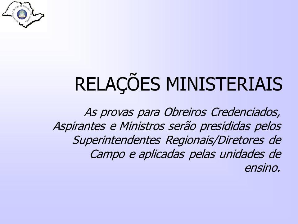 RELAÇÕES MINISTERIAIS