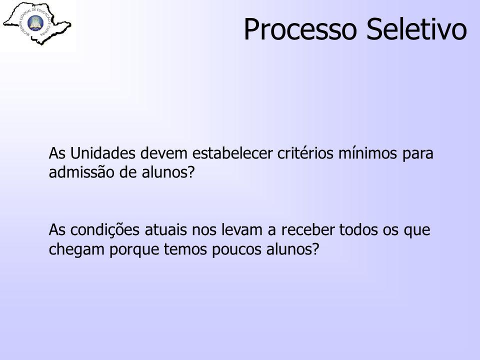 Processo Seletivo As Unidades devem estabelecer critérios mínimos para admissão de alunos