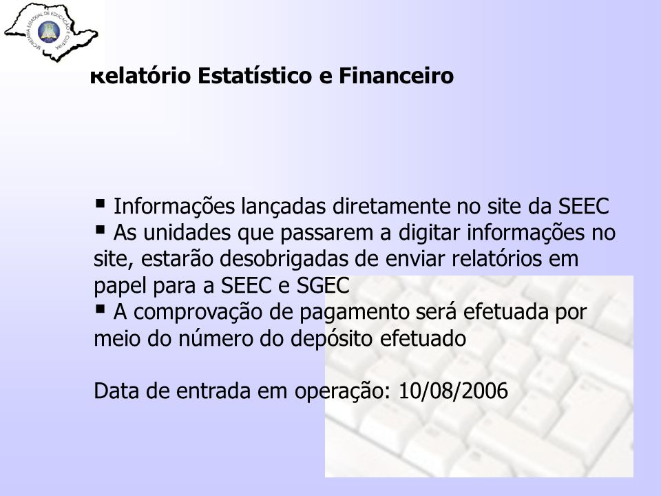 Relatório Estatístico e Financeiro