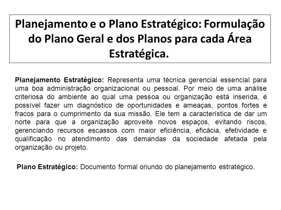 Planejamento e o Plano Estratégico: Formulação do Plano Geral e dos Planos para cada Área Estratégica.