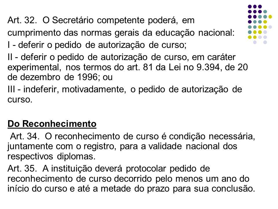 Art. 32. O Secretário competente poderá, em