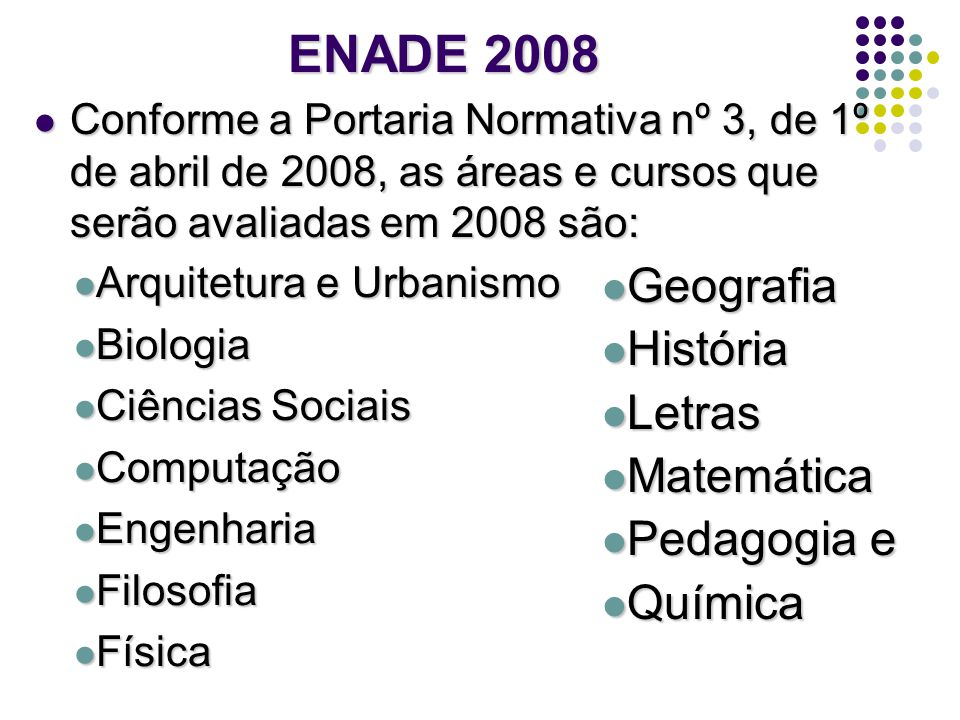 ENADE 2008 Geografia História Letras Matemática Pedagogia e Química