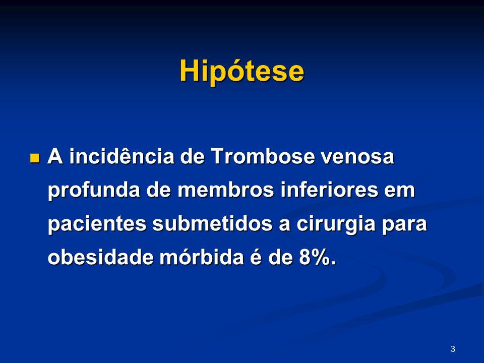Hipótese A incidência de Trombose venosa profunda de membros inferiores em pacientes submetidos a cirurgia para obesidade mórbida é de 8%.