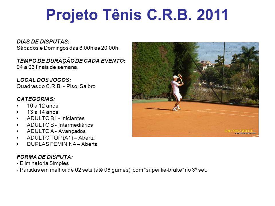 Projeto Tênis C.R.B. 2011 DIAS DE DISPUTAS: