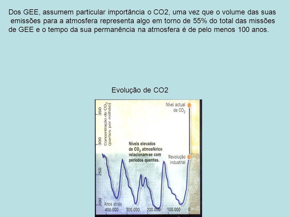 Dos GEE, assumem particular importância o CO2, uma vez que o volume das suas