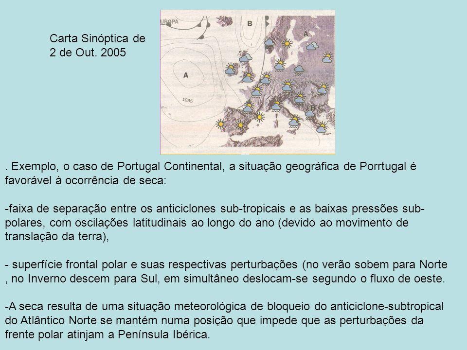 Carta Sinóptica de 2 de Out. 2005. . Exemplo, o caso de Portugal Continental, a situação geográfica de Porrtugal é favorável à ocorrência de seca: