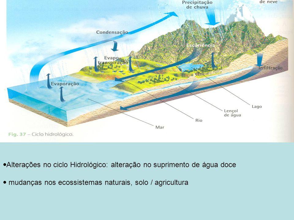 Alterações no ciclo Hidrológico: alteração no suprimento de água doce