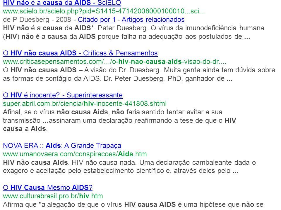 HIV não é a causa da AIDS - SciELO