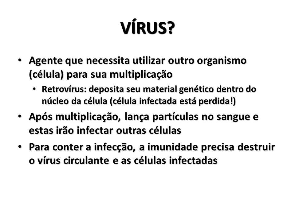 VÍRUS Agente que necessita utilizar outro organismo (célula) para sua multiplicação.