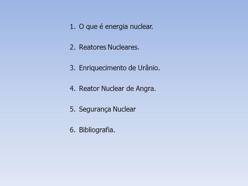 O que é energia nuclear. Reatores Nucleares. Enriquecimento de Urânio. Reator Nuclear de Angra. Segurança Nuclear.
