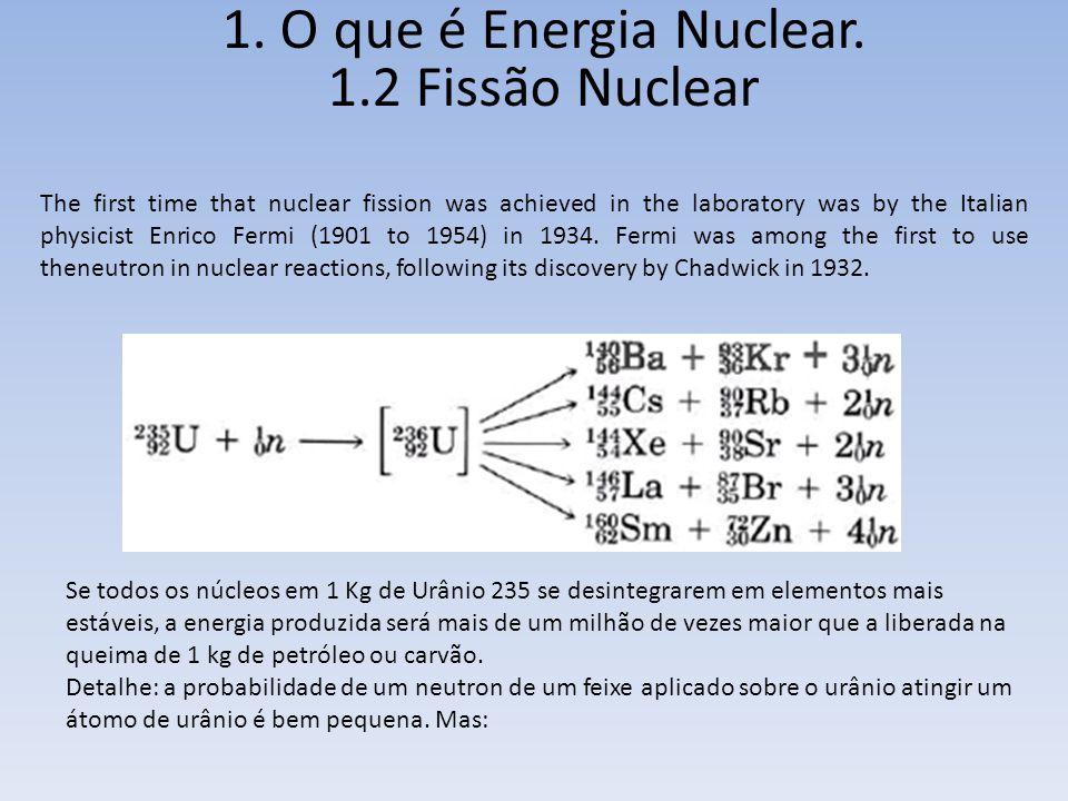 1. O que é Energia Nuclear. 1.2 Fissão Nuclear