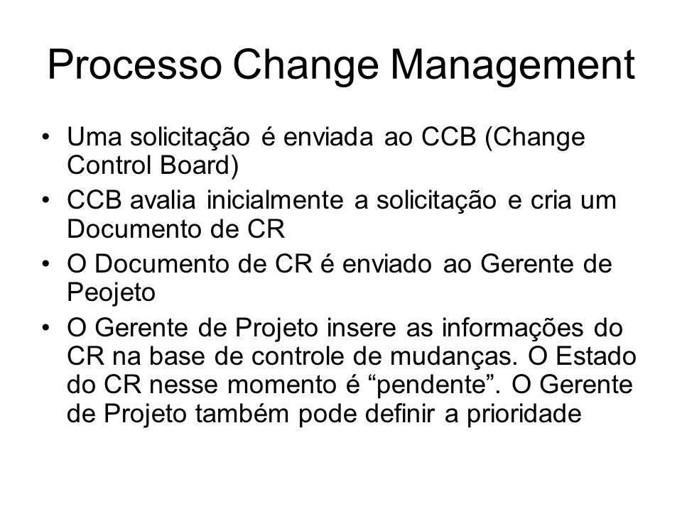 Processo Change Management