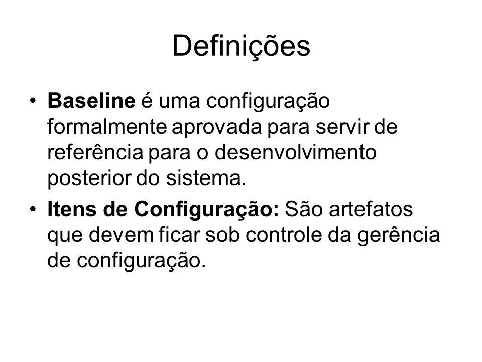 Definições Baseline é uma configuração formalmente aprovada para servir de referência para o desenvolvimento posterior do sistema.