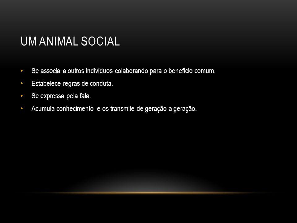 Um animal social Se associa a outros indivíduos colaborando para o benefício comum. Estabelece regras de conduta.