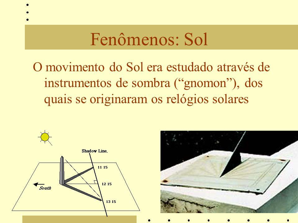 Fenômenos: Sol O movimento do Sol era estudado através de instrumentos de sombra ( gnomon ), dos quais se originaram os relógios solares.
