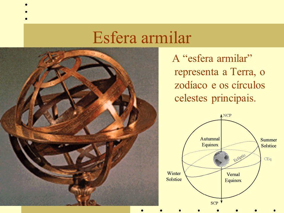 Esfera armilar A esfera armilar representa a Terra, o zodíaco e os círculos celestes principais.