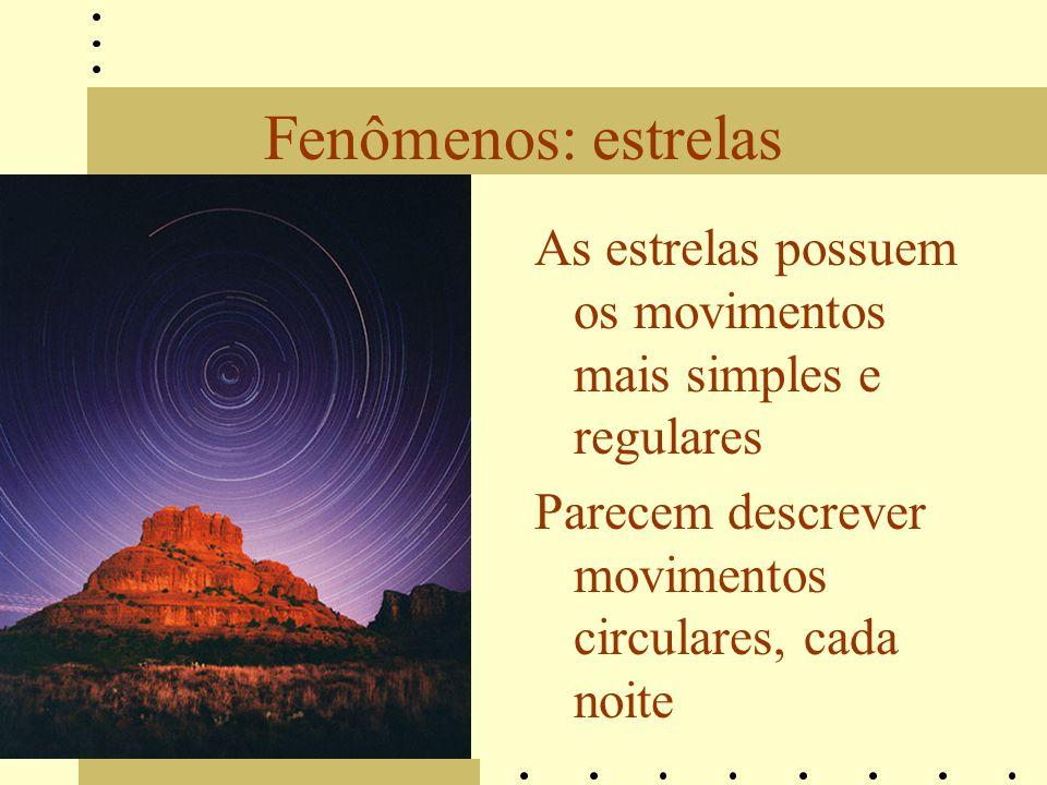 Fenômenos: estrelas As estrelas possuem os movimentos mais simples e regulares.