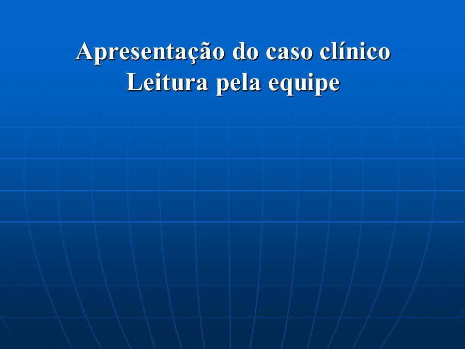 Apresentação do caso clínico Leitura pela equipe