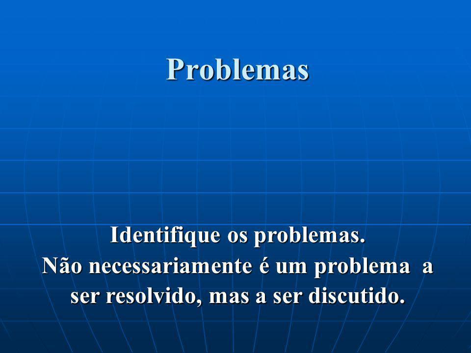 Identifique os problemas.
