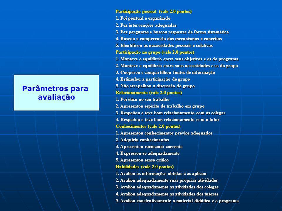 Parâmetros para avaliação